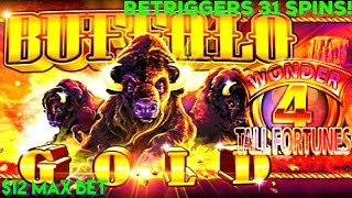 BUFFALO GOLD TALL FORTUNES | $12 MAX BET BONUS | 31 FREE SPINS RETRIGGERS!