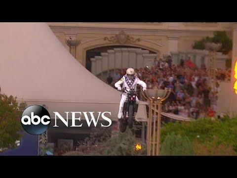 Travis Pastrana replicates Evel Knievel motorcycle jumps