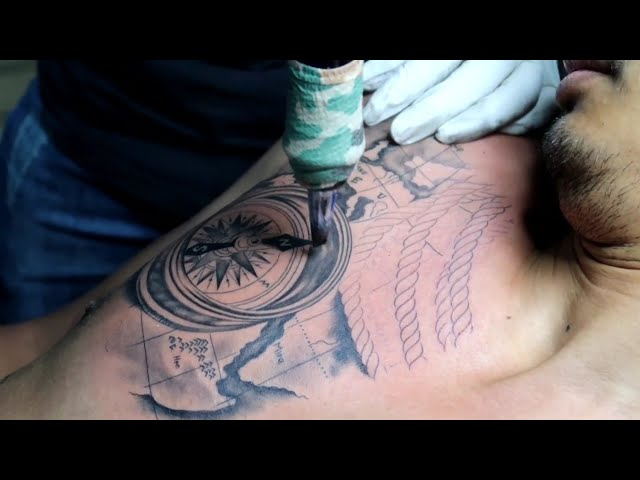 compass tattoo សាក់ដោយ លោកគ្រូ យូឌី