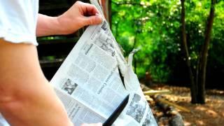 Carbon V Recon Tanto Slicing Newspaper