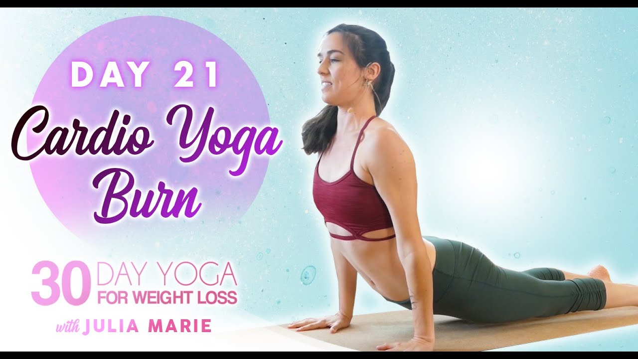 Amped Up Yoga Burn ♥ Cardio Fat Burning Workout, Yoga for Weight Loss Julia Marie | Day 21