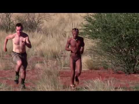 Barefoot running Bushman versus me (shod Finn)