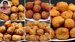 தினமும் ஒரு சுவையில் 5 விதமான போண்டா | 5 Variety Bonda Recipe | Snacks Recipes in Tamil
