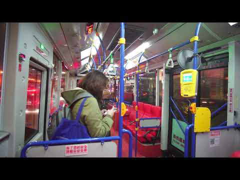 Taiwan, night ride with bus 265 from Ximen Metro Mall to Taipei Main Station