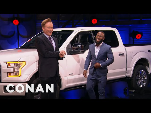 Conan Surprises The Patriots' James White With A Ford Truck