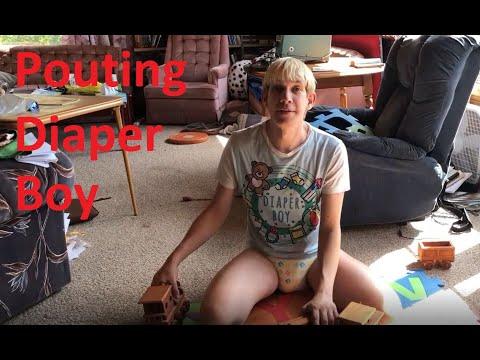 Pouting Little Diaper Boy