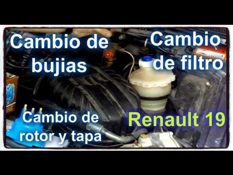 Cambio de bujias, filtro, tapa y rotor Renault 19 RT 1.7 ...