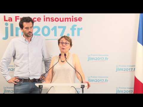 Conférence de Presse de la France insoumise pour les résultats du 2nd tour.