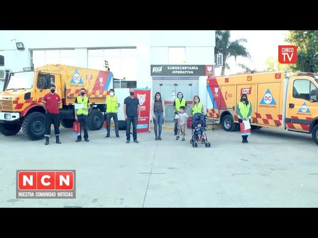 CINCO TV - Gisela Zamora reconoció la vocación de voluntarios de Defensa Civil Tigre