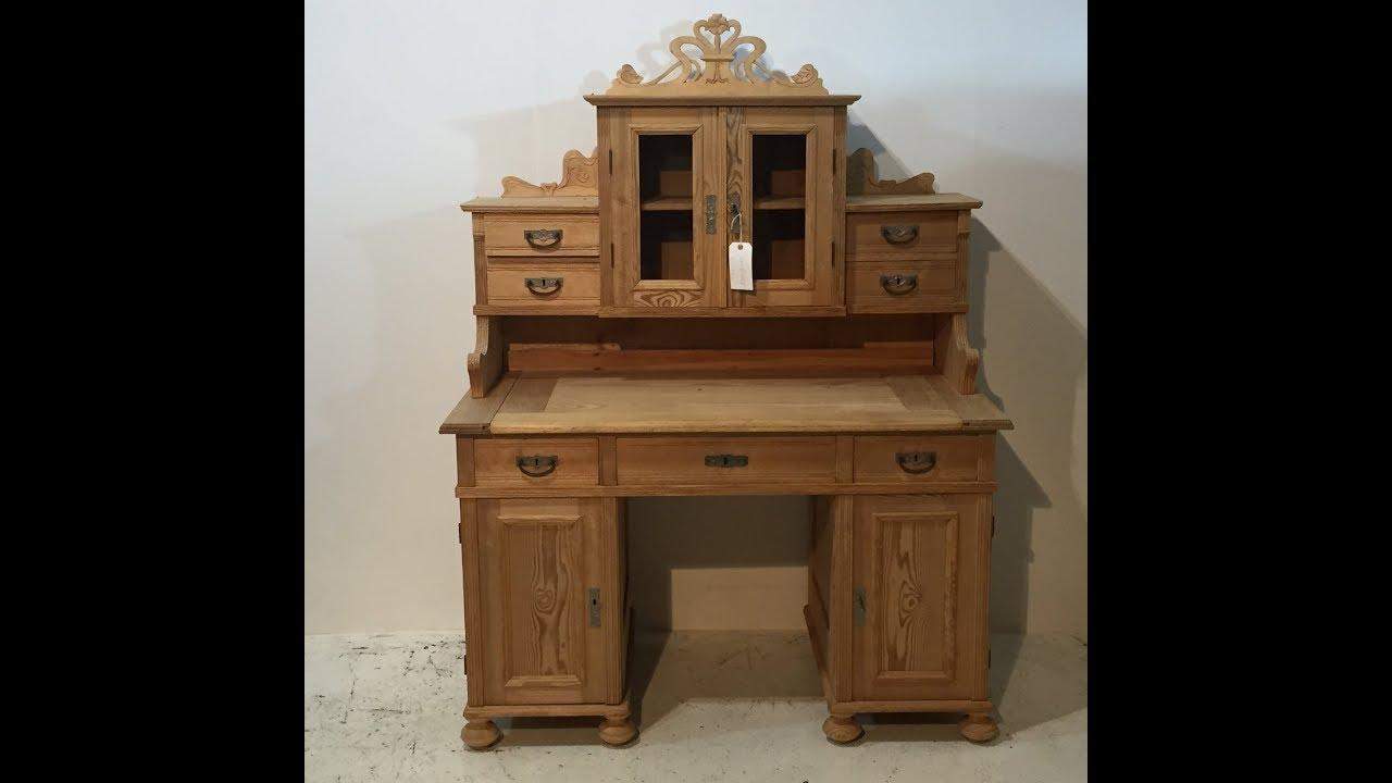 Large Ornate Antique Pine Desk For Sale Pinefinders Old Pine