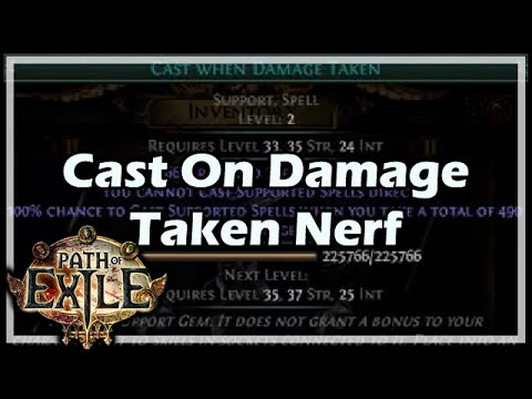 Path Of Exile Cast On Damage Taken Nerf Youtube With enough crit chance or ignite chance, you can. youtube