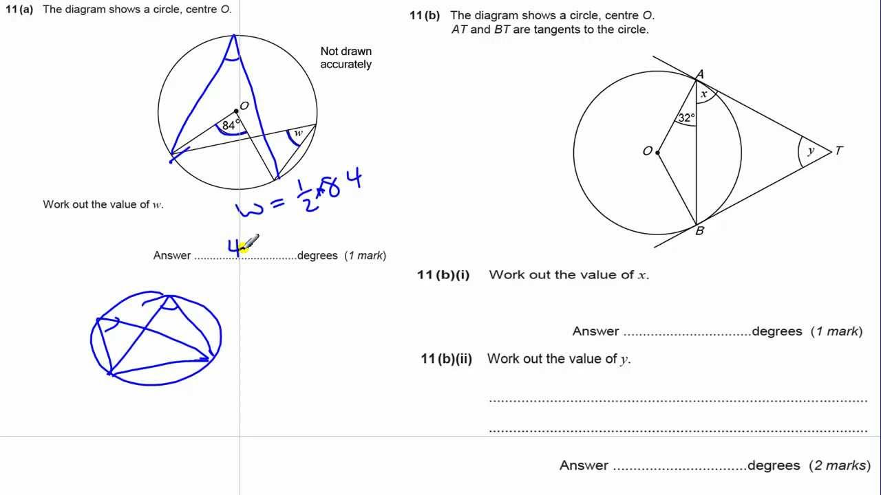 GCSE Maths revision Exam paper practice circle theorems