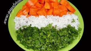 Carrot  & Coconut Curry Garnished With Corriander Leaves - Indian Tri-colors - Andhra Telugu Recipes