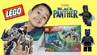 MARVEL Black Panther Lego set UNBOXING Rhino Face Off by the Mine
