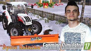 """❄️Ślisko, ciągnik bokiem czyli odśnieżanie dróg po śnieżycy❄️Farming Simulator 17""""Życie Rolnika""""#20㋡"""