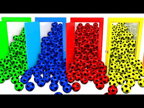 Learn Colors with Doors and  Soccer Balls Colors Video for Children and Kids