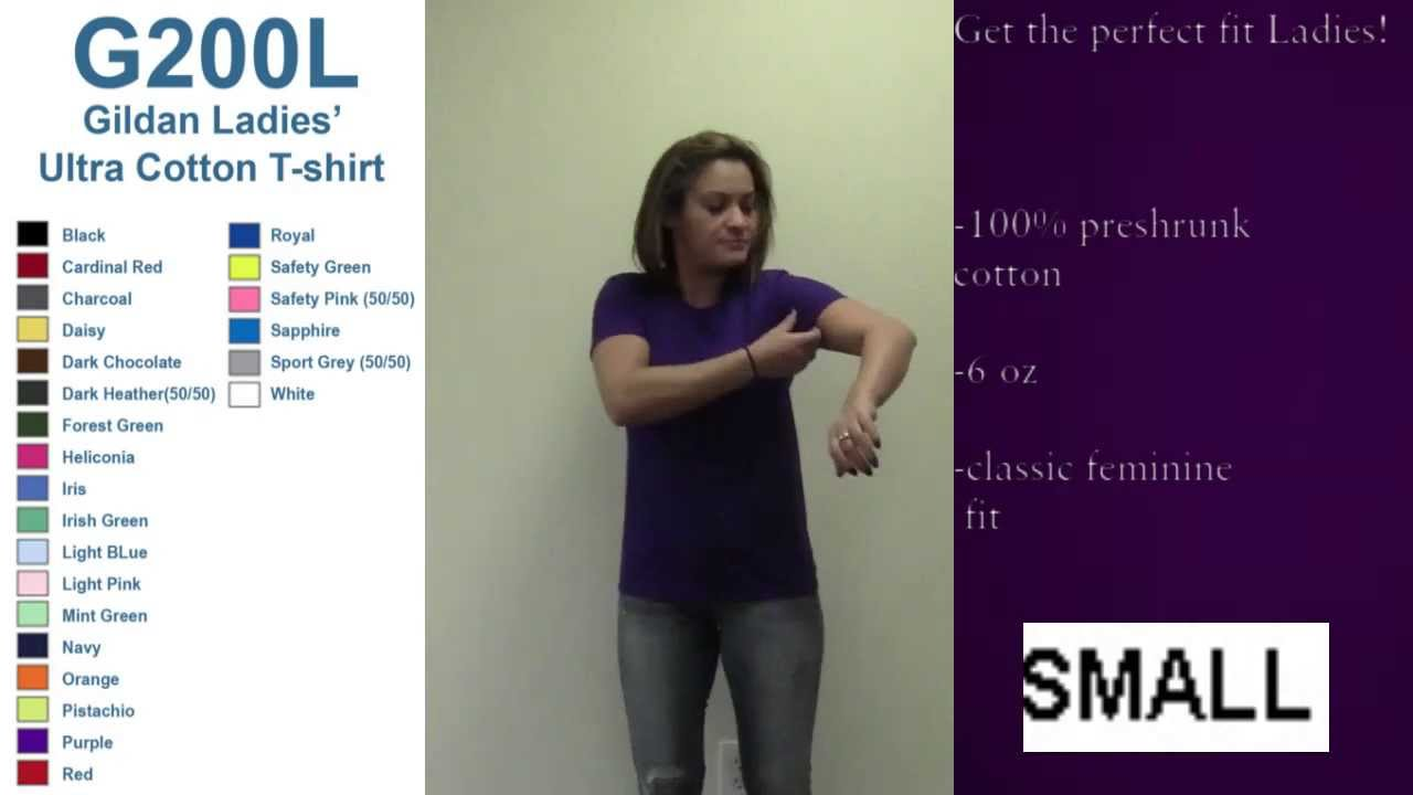 Best ladies fit gildan t shirt sizing video youtube for Gildan brand t shirt size chart