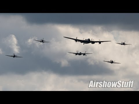 Hamilton Airshow 2013 - Merlin Flight (Mosquito, Lancaster, Spitfire, and Hurricane Formation)