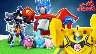 AUTOBOTS vs DECEPTICONS Optimus Prime Bumblebee vs Megatron Starscream Superheroes for kids KIKORIKI