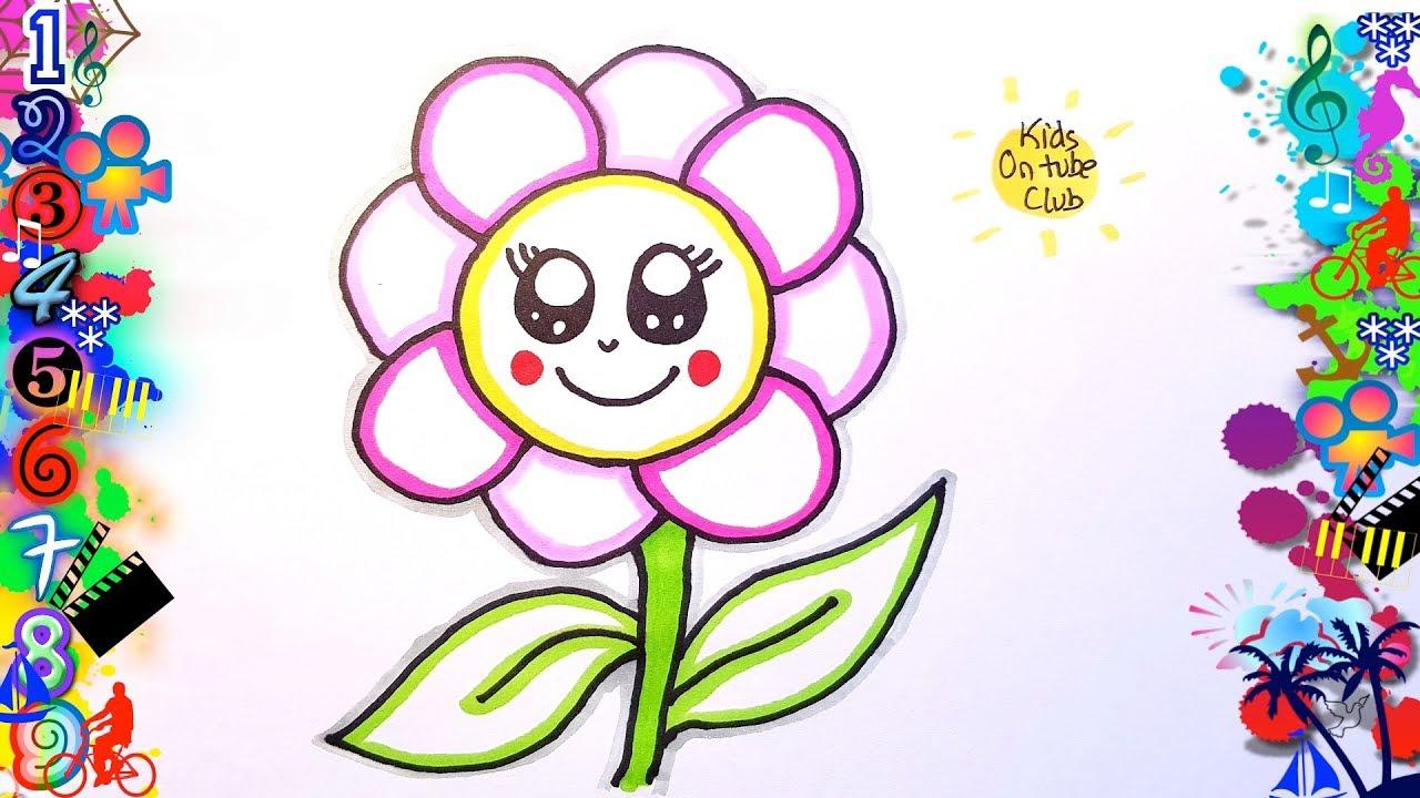 Como Dibujar Flores Kawaii Facil Para Ninos Dibujos Youtube