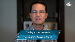 """""""A pesar de la propaganda gubernamental, el resultado de la consulta denota que los mexicanos no cayeron en su juego"""", señaló Anaya en un video difundido en sus redes social"""