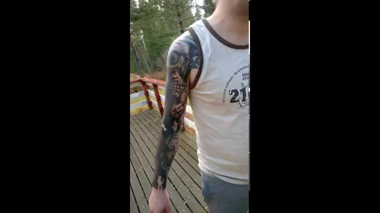 Tattoo Black Work Sleeve Portrair Skull Rose Horror Youtube