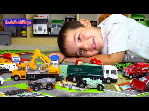 Toy Trucks for Kids | Matchbox Truck Toys UNBOXING | Dump Truck Scraper Excavator Digging Sand