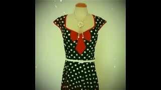ReoRia 50s style rockabilly polka dot housewife dress Thumbnail