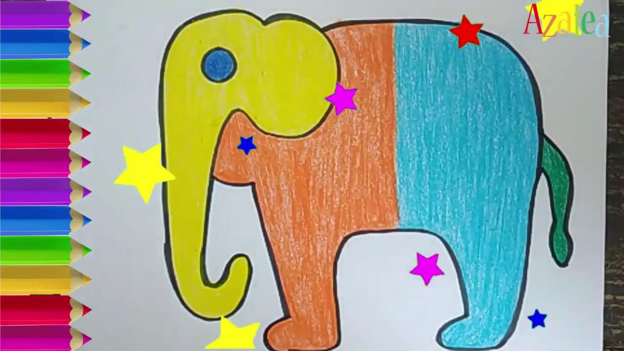Cara Menggambar Dan Mewarnai Gajah Rainbow Warna Warni Untuk Anak Paud Youtube