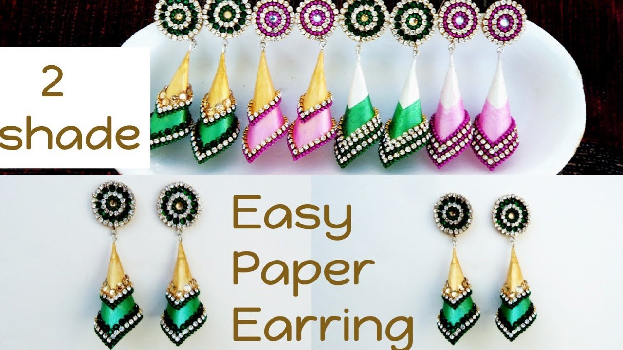 Tutorial 23 Two Shades Paper Earrings Design Homemade Design