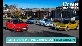 Volkswagen Golf v Hyundai i30 v Honda Civic v Subaru Impreza Comparison Drive.com.au смотреть