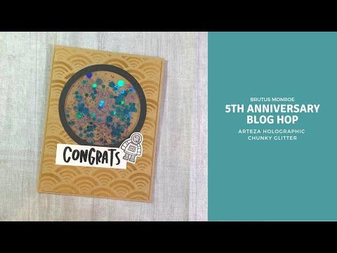 Brutus Monroe Blog Hop Anniversary Card   Arteza Holographic Chunky Glitter