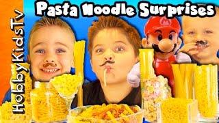 Mega Noodles Surprises! Super Mario Spaghetti Pasta Face Hobbykidstv