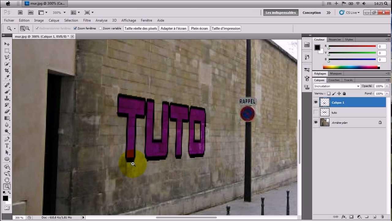 tutoriel photoshop cs5 fr - mettre un texte sur un mur en perspective