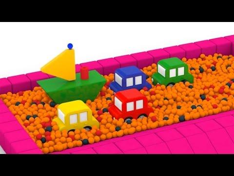 4 машинки и кораблик пирамидка ныряют в сухой бассейн с шариками