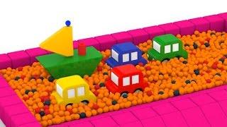 Мультик про 4 машинки и кораблик - сухой бассейн с шариками