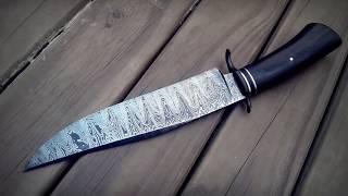 Faca Bowie em aço damasco dente de lobo / Damask Steel Wolf Tooth Bowie Knife