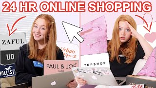 24 HOUR ONLINE SHOPPING CHALLENGE IN OUR BEDROOMS *Big Summer Haul Try On 2020 | Ruby and Raylee