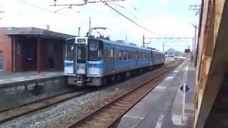 JR四国 粟井駅 観音寺行き7000系(インバータ更新未更新ペア)普通列車 発車