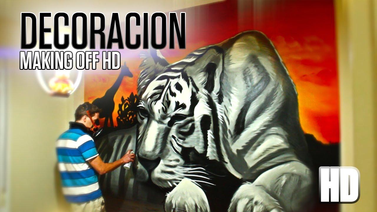 Decoraci n dormitorio tigre graffiti mural youtube - Graffitis para habitaciones ...