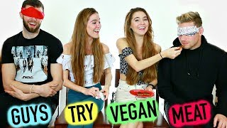 GUYS TRY VEGAN MEAT BLINDFOLD CHALLENGE  - ft Ben & Cameron