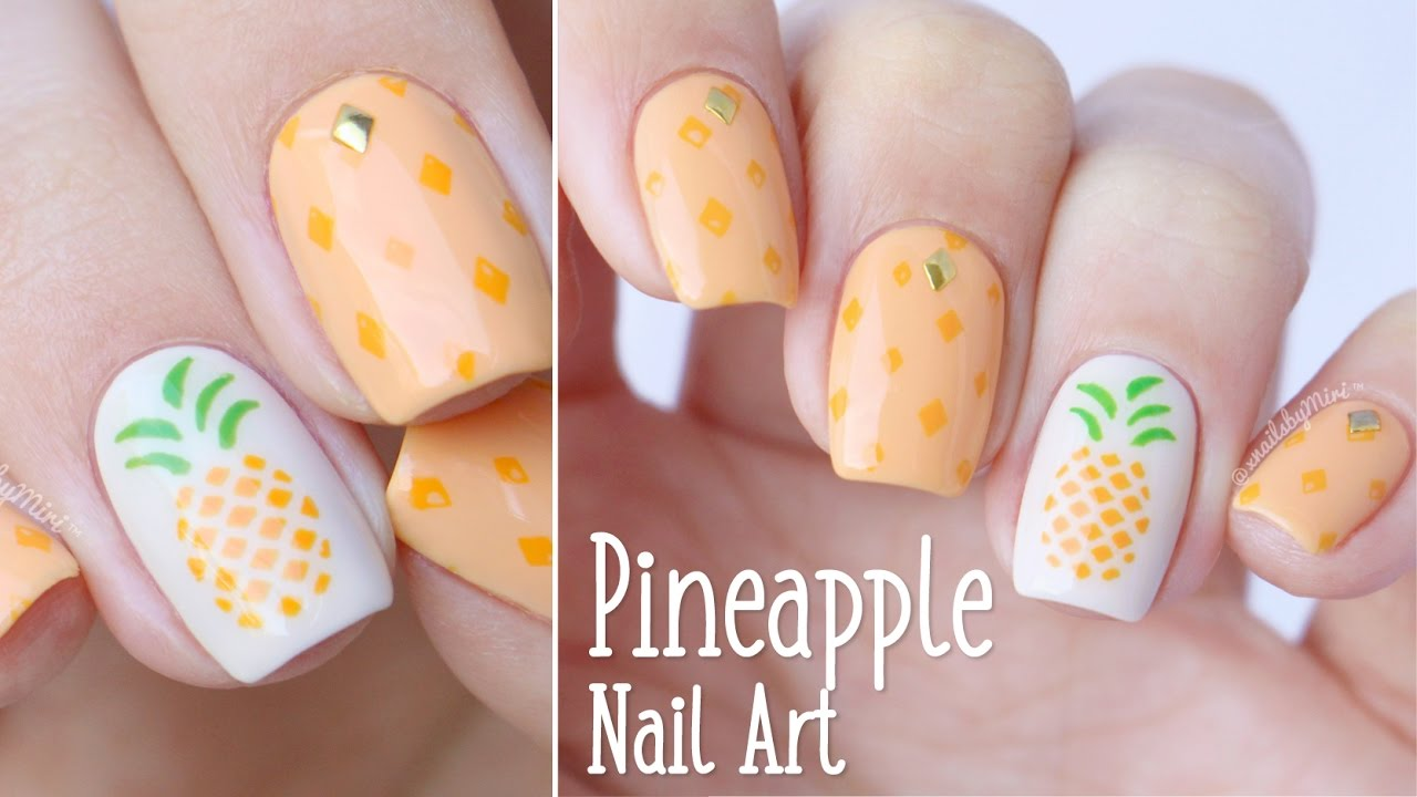 Pineapple Nail Art 🍍 || using vinyls by Bundle Monster - Pineapple Nail Art 🍍 |using Vinyls By Bundle Monster - YouTube