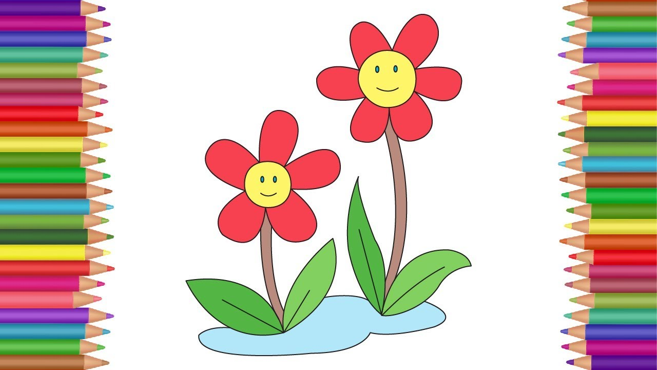 Flower Coloring Pages For Kids How To Draw Color Flower Coloring
