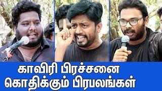 காவிரிக்காக கொந்தளித்த பிரபலங்கள்  RJ Vignesh & Mirchi Sha Angry Speech In Cauvery Protest  IPL 2018