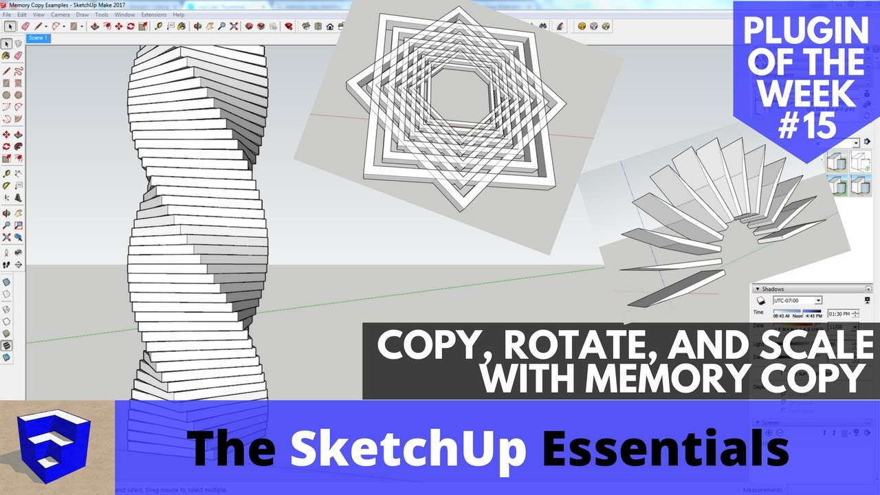 Repeating Copy, Rotation and Scaling of Objects with Memory Copy - SketchUp  Plugin of the Week