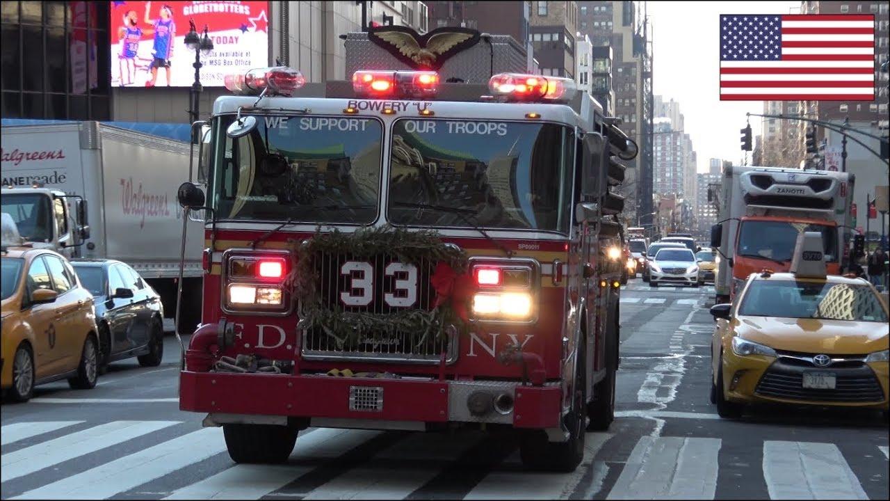 FDNY fire truck responding - air horn, siren & lights - Engine 33