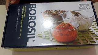 Unboxing : Borosil Glass Mixing Bowl Set-3-Pieces-Transparent (Amazon Lightening Deal)