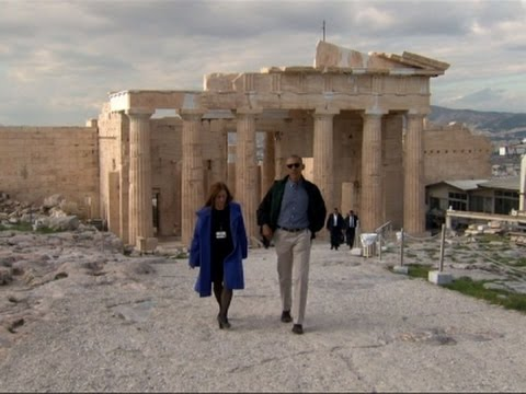 Raw: Obama in Athens, Tours Parthenon