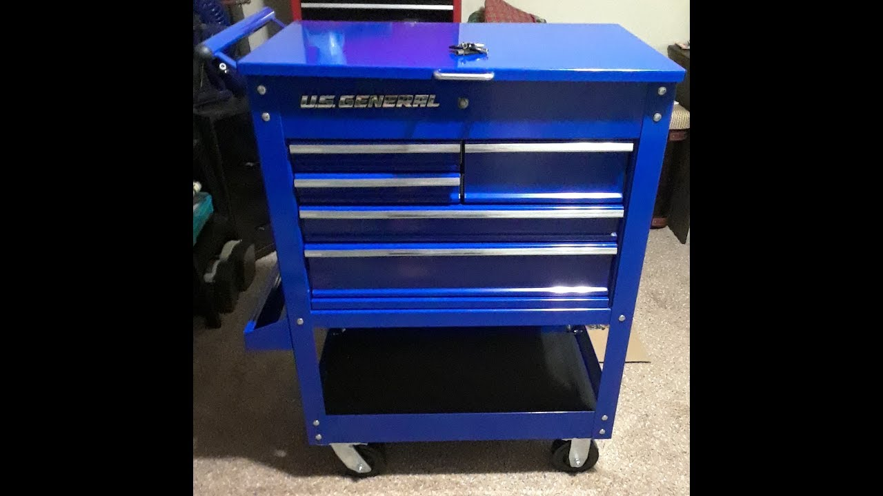 Harbor Freight Us General 5 Drawer Tool Cart New Blue Color Part 3