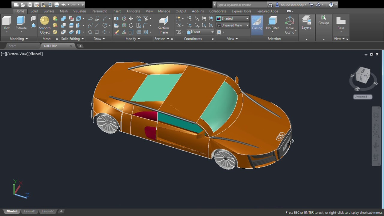 How To Make Car In Autocad In Easy Way How To Design A Sports Car In Autocad Easily By By Youtube